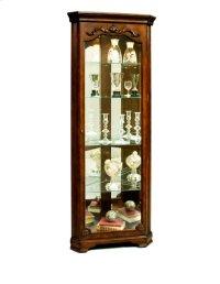 Carved 5 Shelf Corner Curio Cabinet in Eden Oak Brown Product Image