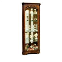 Carved 5 Shelf Corner Curio Cabinet in Eden Oak Brown