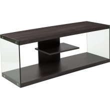 Cedar Lane Collection Driftwood Wood Grain Finish TV Stand with Shelves and Glass Frame