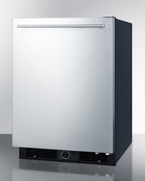 Frost-free All-refrigerator for Built-in or Freestanding Use, With Black Cabinet and Stainless Steel Door