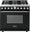 Range DECO 36'' Classic Black matte, Chrome 6 gas, gas oven