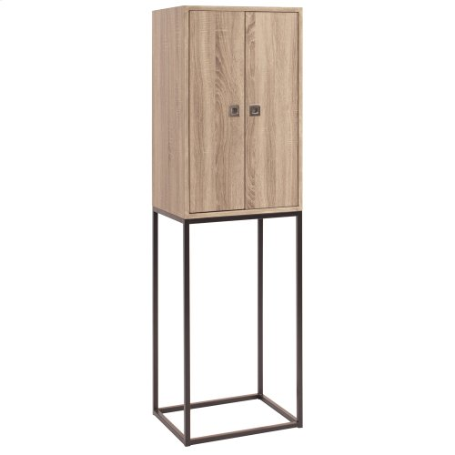 Tall Natural Wood Cabinet with Graphite Metal Frame
