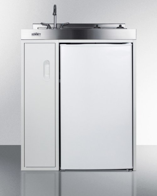 30 Inch Wide All-in-one Kitchenette With 2-burner Smooth-top 115v Cooktop, Refrigerator-freezer, Sink, and Storage Cabinet