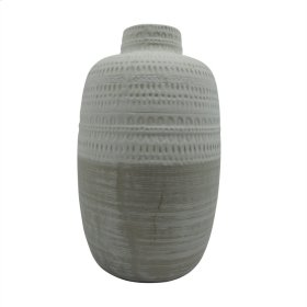 "Ceramic 7.75"" Tribal Vase, Beige"