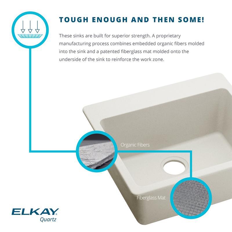 "Additional Elkay Quartz Luxe 35-7/8"" x 20-15/16"" x 9"" Single Bowl Farmhouse Sink with Perfect Drain, Ricotta"