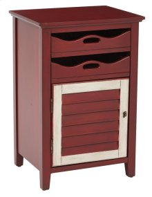 Charlotte Chair Side Table In Vintage Wine W/ Oatmeal Finish, Fully Assembled
