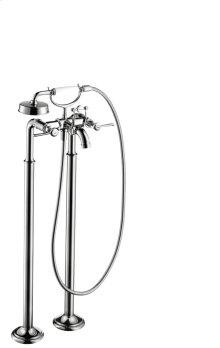 Chrome 2-handle bath mixer floor-standing with lever handles