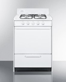 "White Gas Range In Slim 24"" Width With Electronic Ignition and Sealed Burners"