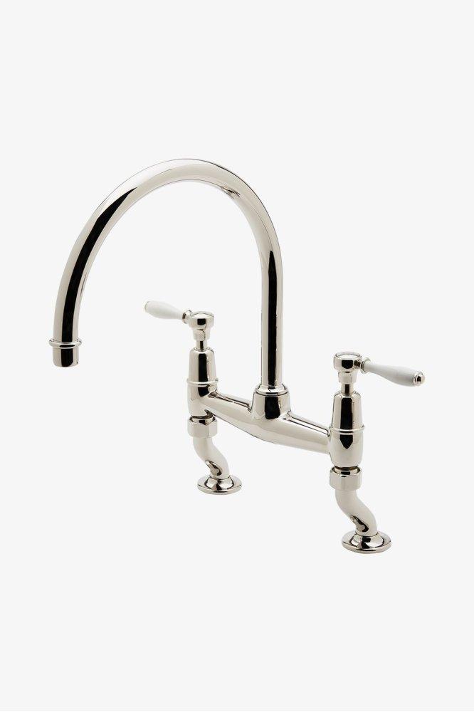 Incroyable Easton Classic Two Hole Bridge Gooseneck Kitchen Faucet, White Porcelain  Lever Handles STYLE: EAKM03 Hidden