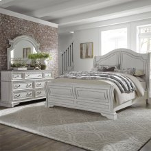 Queen Sleigh Bed, Dresser & Mirror