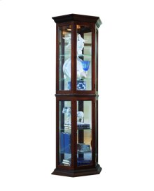 Angled 5 Shelf Mirrored Curio in Deep Heritage Brown