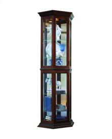 Angled 5 Shelf Mirrored Curio in Deep Heritage Brown
