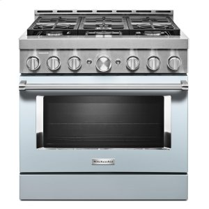 KitchenAid® 36'' Smart Commercial-Style Gas Range with 6 Burners - Misty Blue - MISTY BLUE