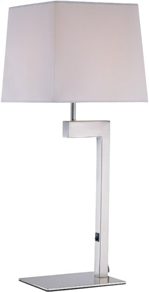 Table Lamp, Ps/white Fabric Shade, E27 Cfl 13w