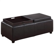 Manhattan II Double Tray Ottoman in Brown