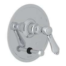 Polished Chrome Italian Bath Pressure Balance Trim With Diverter with Metal Lever