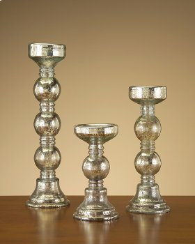 S/3 Mercury Glass Candle Holders