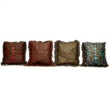 Chocolate Large Hand Tooled Leather Perforated W/ Fringe