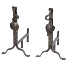Iron Andirons - Leaf Collection