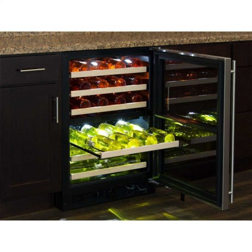 """Marvel 24"""" High Efficiency Dual Zone Wine Refrigerator - Panel-Ready Solid Overlay Door - Integrated Left Hinge (handle not included)*"""
