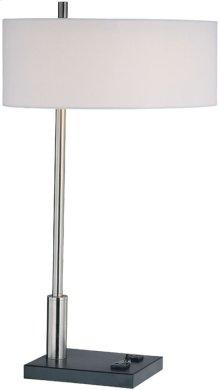 Table Lamp, Ps/blk/wht Fabric, Outlet X2pcs, E27 Cfl 13w