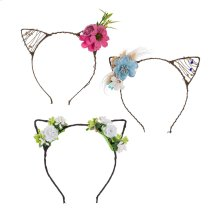 12 pc. ppk. Flower & Pet Ear Headband