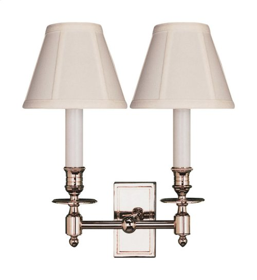 Visual Comfort S2212PN-T Studio French 2 Light 12 inch Polished Nickel Decorative Wall Light in Tissue Silk