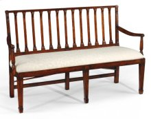 Walnut Two Seat Bench with Column Back
