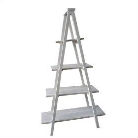 """Wood 4 Shelf Ladder Bookcase 70"""" White"""