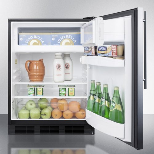 Freestanding ADA Compliant Refrigerator-freezer for General Purpose Use, W/dual Evaporator Cooling, Cycle Defrost, Ss Door, Thin Handle, and Black Cabinet