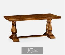 "71"" Country Walnut Rectangular Fixed Top Dining Table"