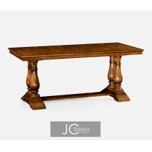 """71"""" Country Walnut Rectangular Fixed Top Dining Table"""