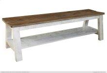 Breakfast & Bedroom Bench w/ shelf, Solid Wood - Brown & White Finish