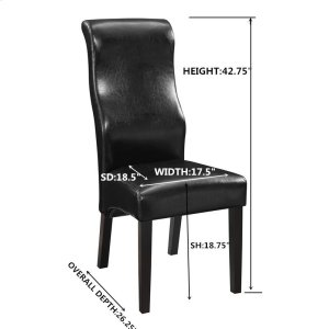 Contemporary Black Faux Leather Dining Chair
