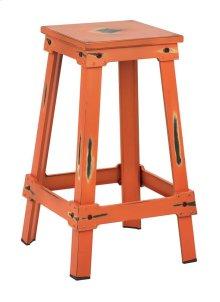 "New Castle 26"" Antique Orange Metal Barstool, Kd"