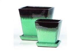 Black and Aqua Franc Petits Pots with Attached Saucer - Set of 2