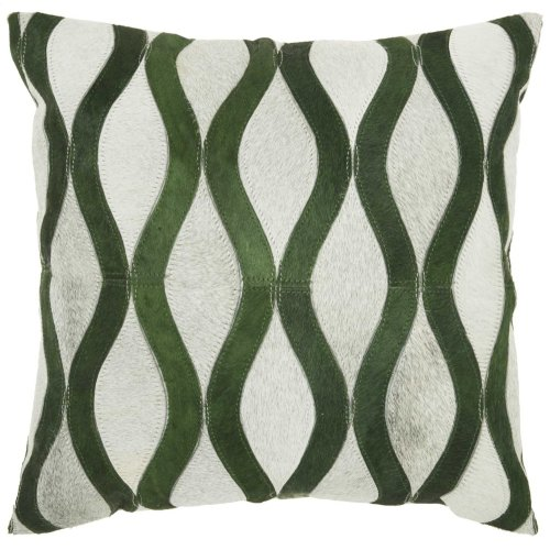 "Natural Leather Hide S2212 Green/grey 20"" X 20"" Throw Pillow"
