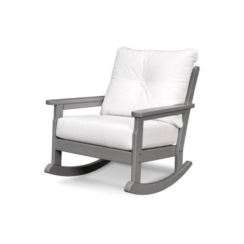 White & Cast Ash Vineyard Deep Seating Rocking Chair