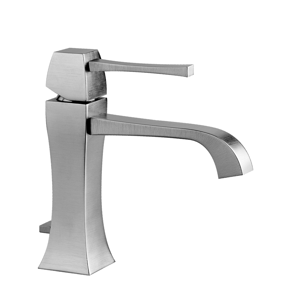 """Single lever washbasin mixer with pop-up assembly Spout projection 5-3/16"""" Height 6-1/2"""" Includes drain Max flow rate 1"""