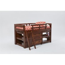 Heartland Ladder Low Loft Bed with options: Chocolate, Twin, Dresser and 2 Bookshelves
