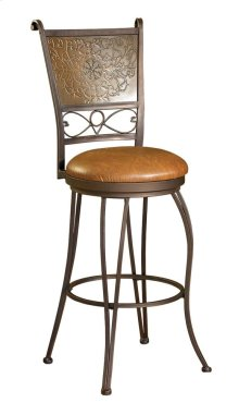 """Bronze with Muted Copper Stamped Back Bar Stool, 30"""" Seat Height"""