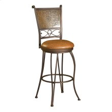 "Bronze with Muted Copper Stamped Back Bar Stool, 30"" Seat Height"