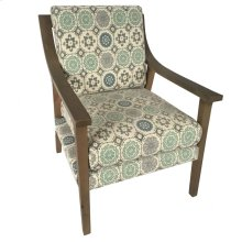 Wilcox Upholstered Pattern Wood Arm Chair