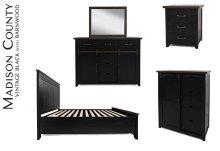 Madison County 4 PC Queen Panel Bedroom: Bed, Dresser, Mirror, Nightstand - Vintage Black