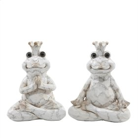 "S/2 Resin Yoga Frogs 6.75"", Cream"
