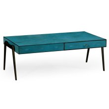 Teal Faux Shagreen and Bronze Legged Coffee Table