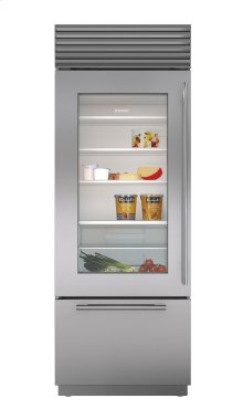 "30"" Built-In Over-and-Under Glass Door Refrigerator/Freezer"