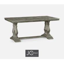 "71"" Antique Dark Grey Rectangular Fixed Top Dining Table"