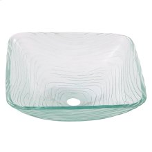 Square wavy sculptured tempered glass basin