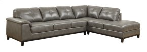 2 PC Sectional W/6 Seats-lsf Sofa-rsf Chaise-grey Pu